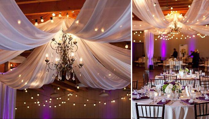 Dekoracje sufitu sali weselnej