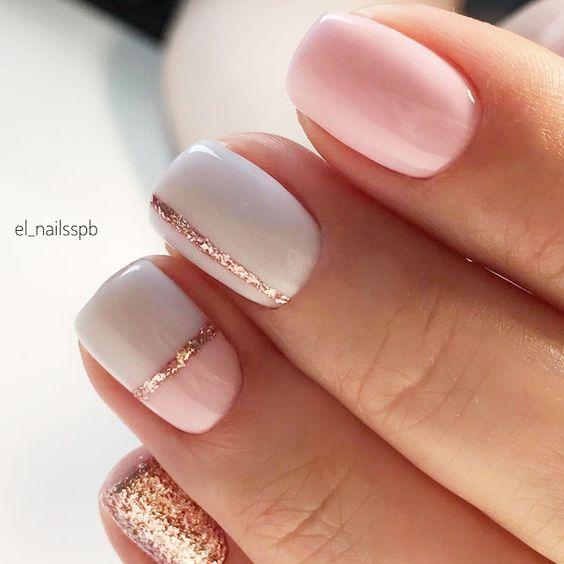 Manicure ślubny z brokatem