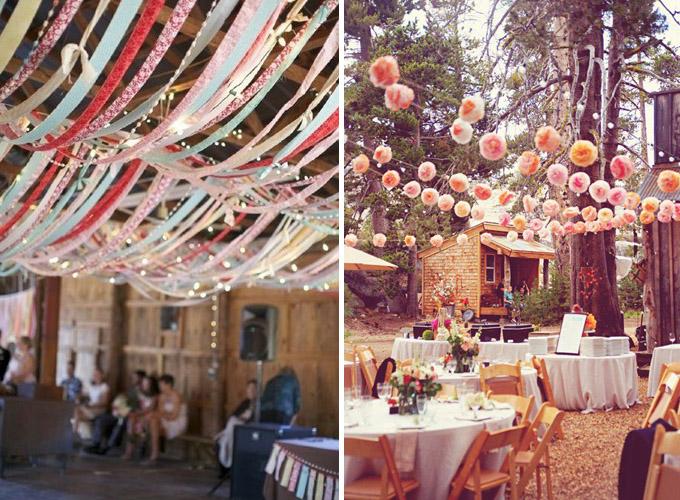 Papierowe ozdoby sali weselnej