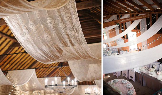 Sufit sali weselnej dekoracje
